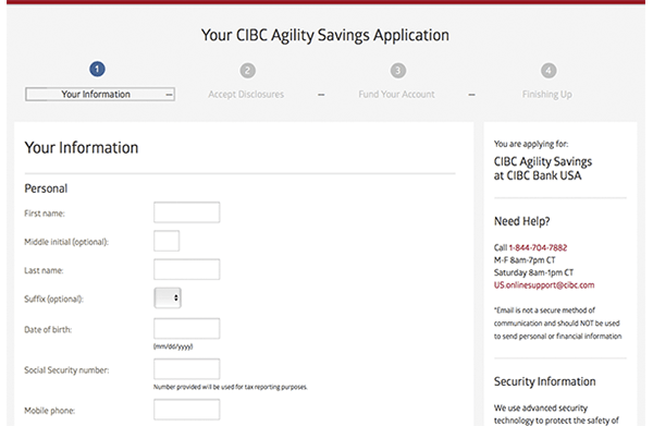 CIBC Agility account application